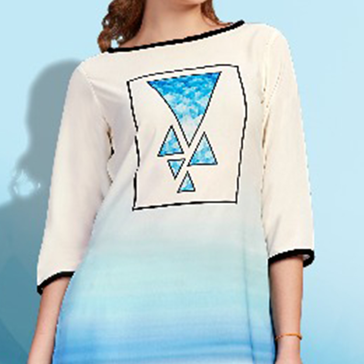 Refreshing White-Blue Colored Partywear Printed Cotton Kurti
