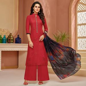 Elegant Red Colored Partywear Embroidered Cotton Satin Suit