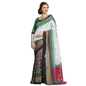 Multi Color Printed Silk Saree