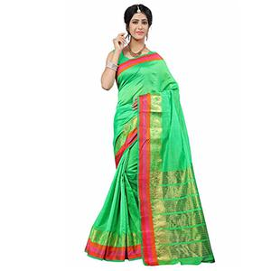 Parrot Green Festive Wear Cotton Silk Woven Saree