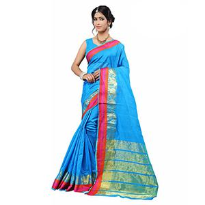 Blue Festive Wear Cotton Silk Woven Saree