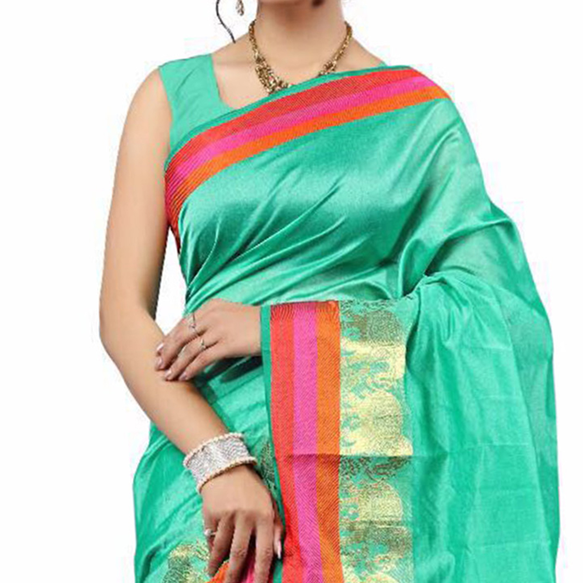 Green Festive Wear Cotton Silk Woven Saree