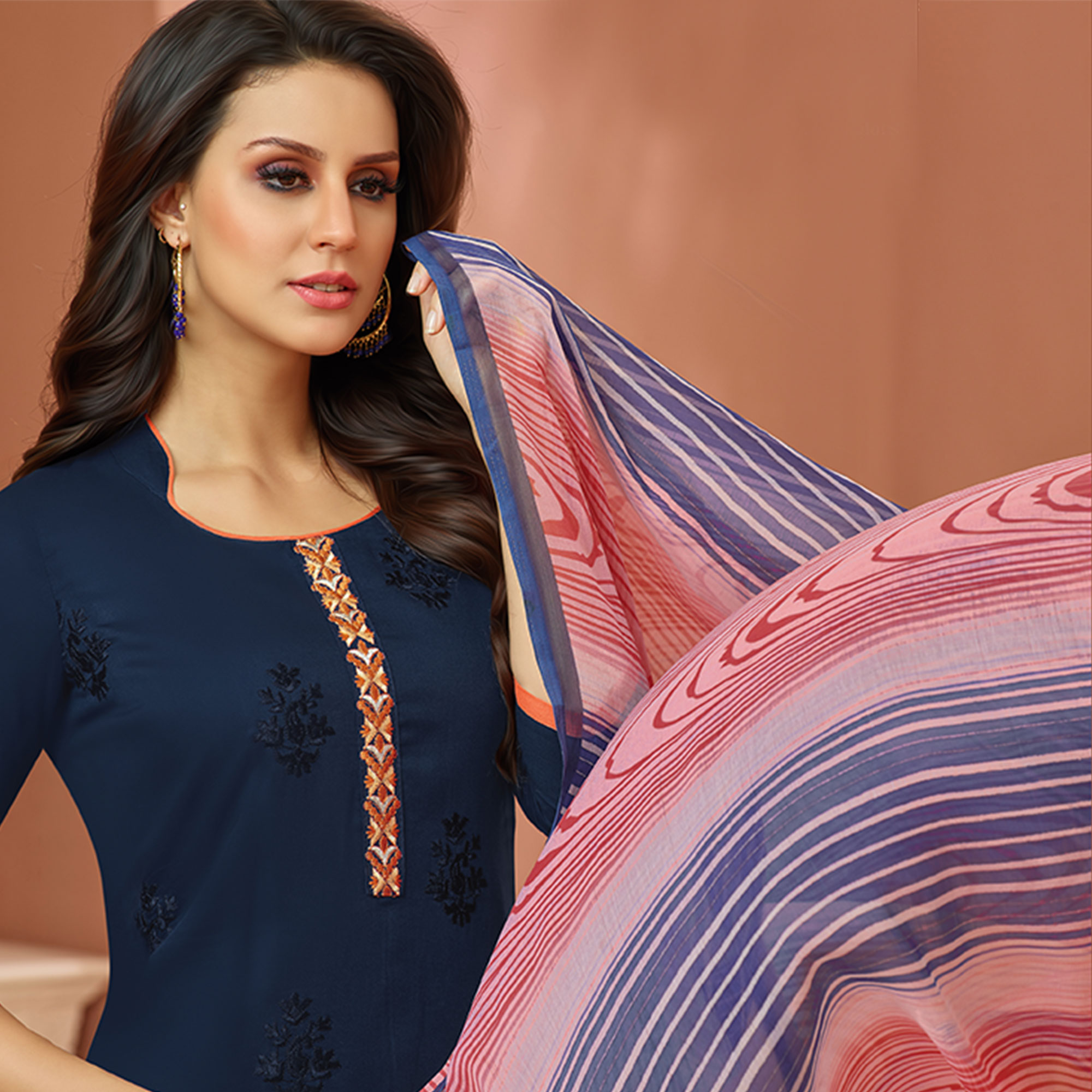 Gleaming Navy Blue Colored Partywear Embroidered Cotton Satin Suit