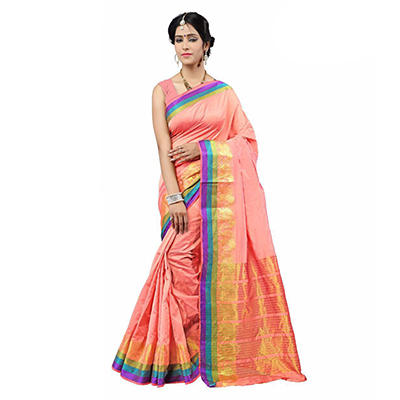 Peach Festive Wear Cotton Silk Woven Saree
