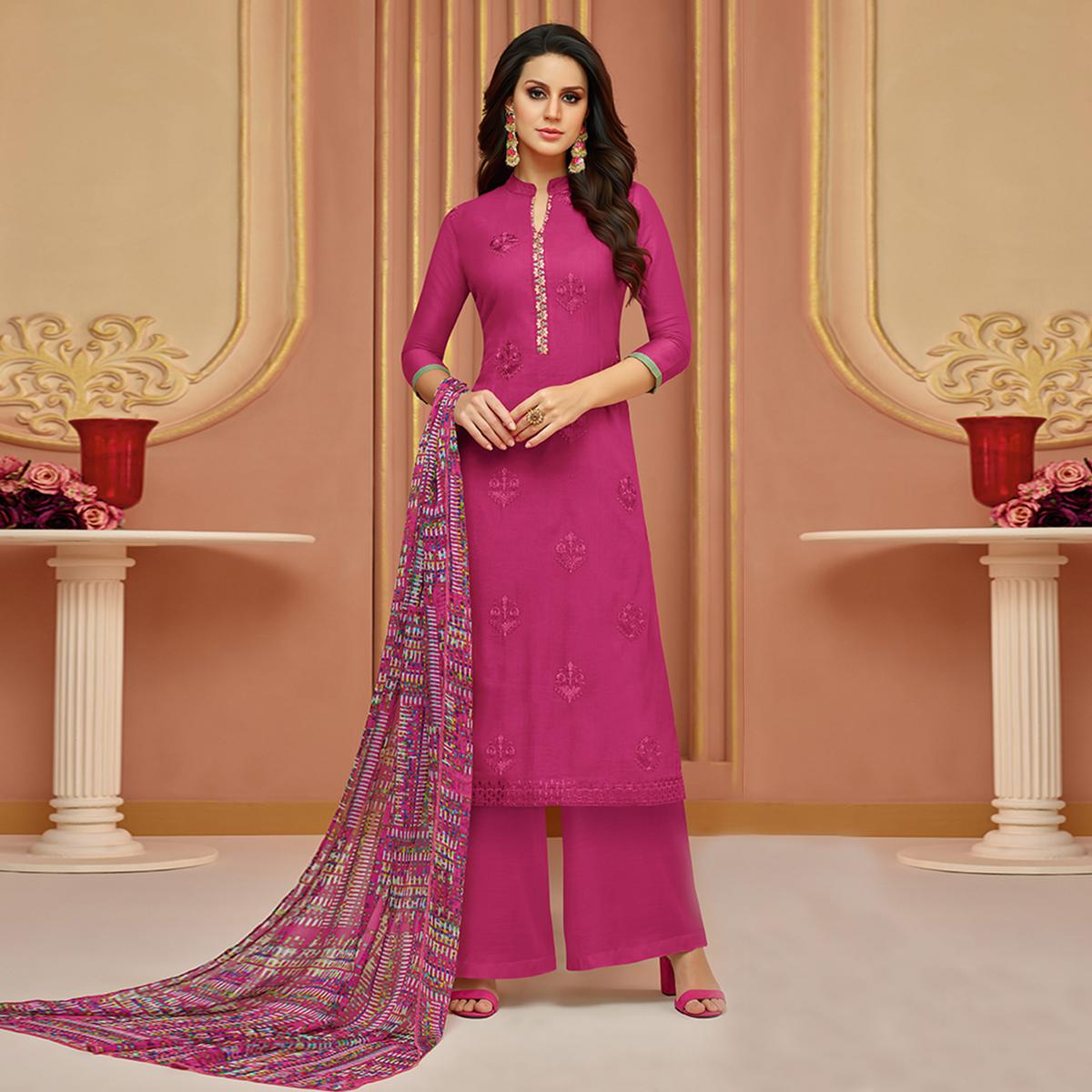 Pretty Pink Colored Partywear Embroidered Cotton Satin Suit