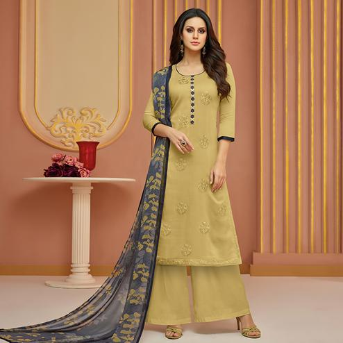 Appealing Beige Colored Partywear Embroidered Cotton Satin Suit