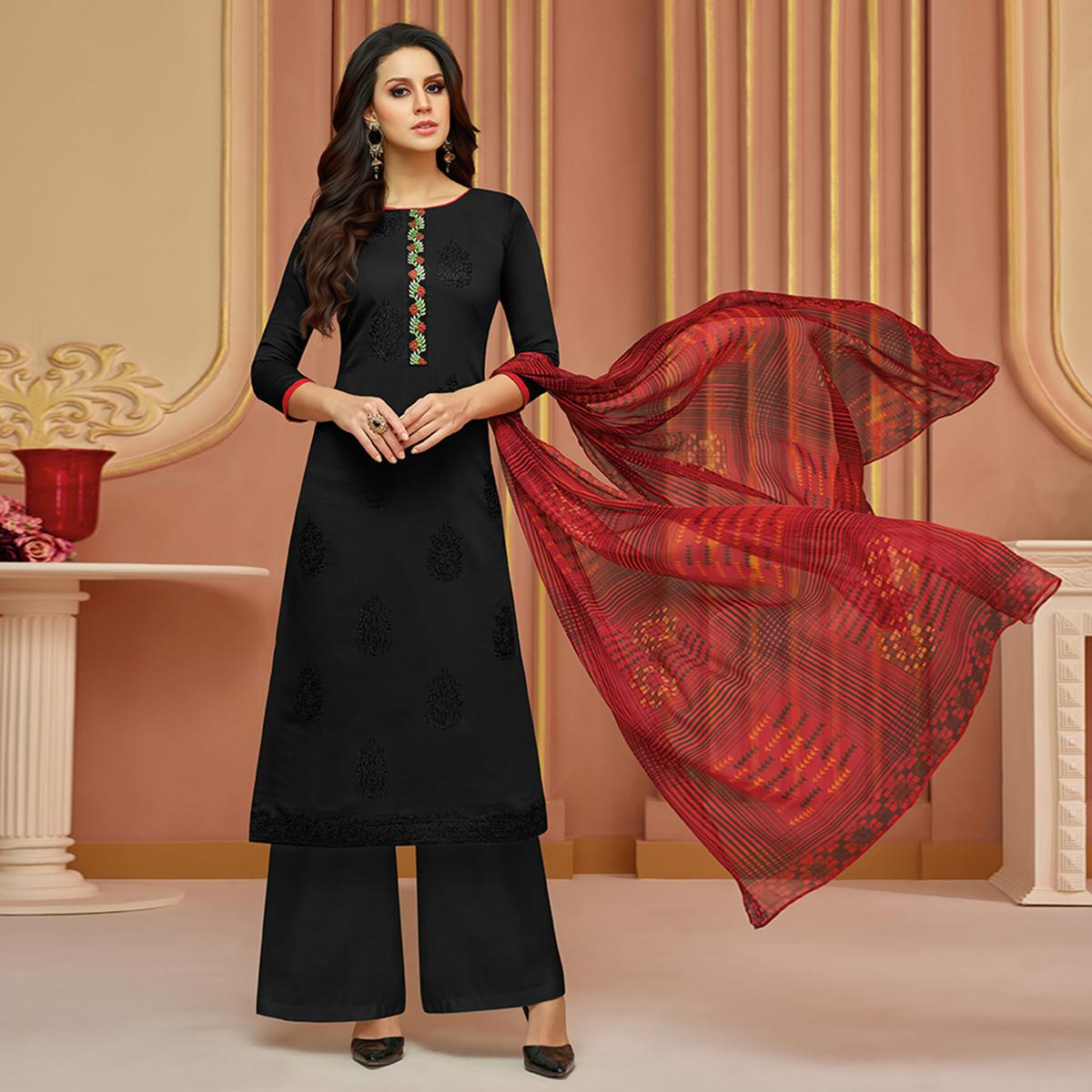Stunning Black Colored Partywear Embroidered Cotton Satin Suit