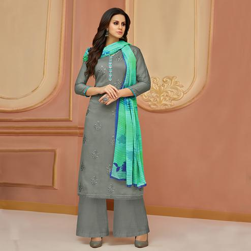 Desiring Gray Colored Partywear Embroidered Cotton Satin Suit