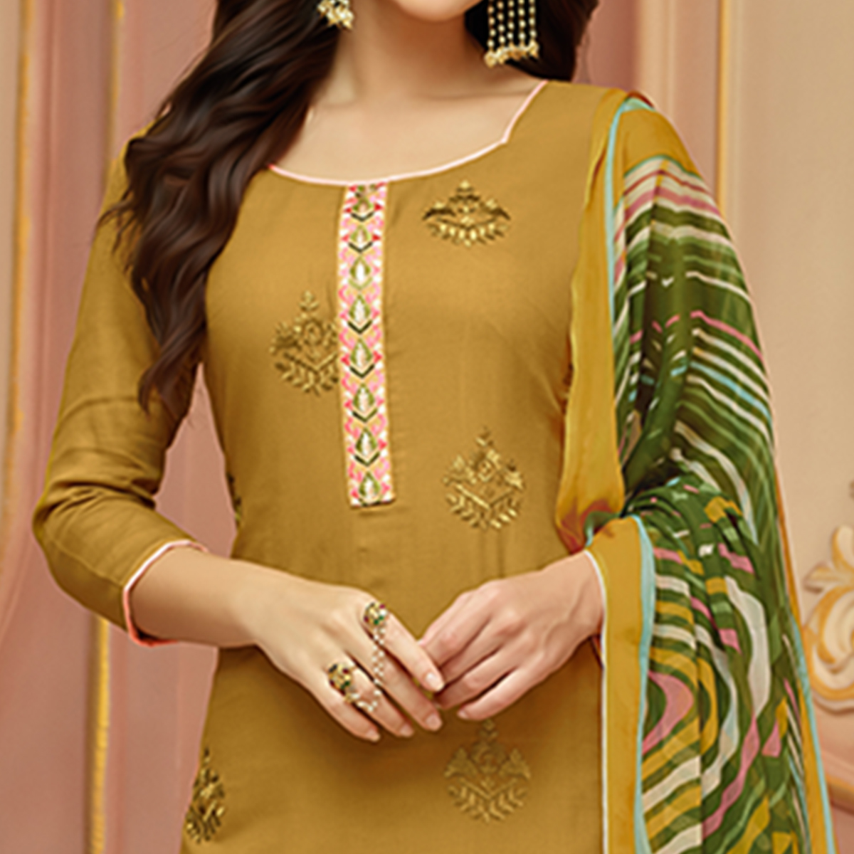 Excellent Light Olive Green Colored Partywear Embroidered Cotton Satin Suit