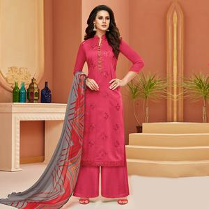 Charming Pink Colored Partywear Embroidered Cotton Satin Suit