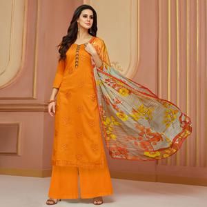 Glowing Orange Colored Partywear Embroidered Cotton Satin Suit