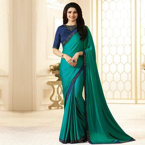 Mesmerising Sea Green Colored Designer Sana Silk Saree