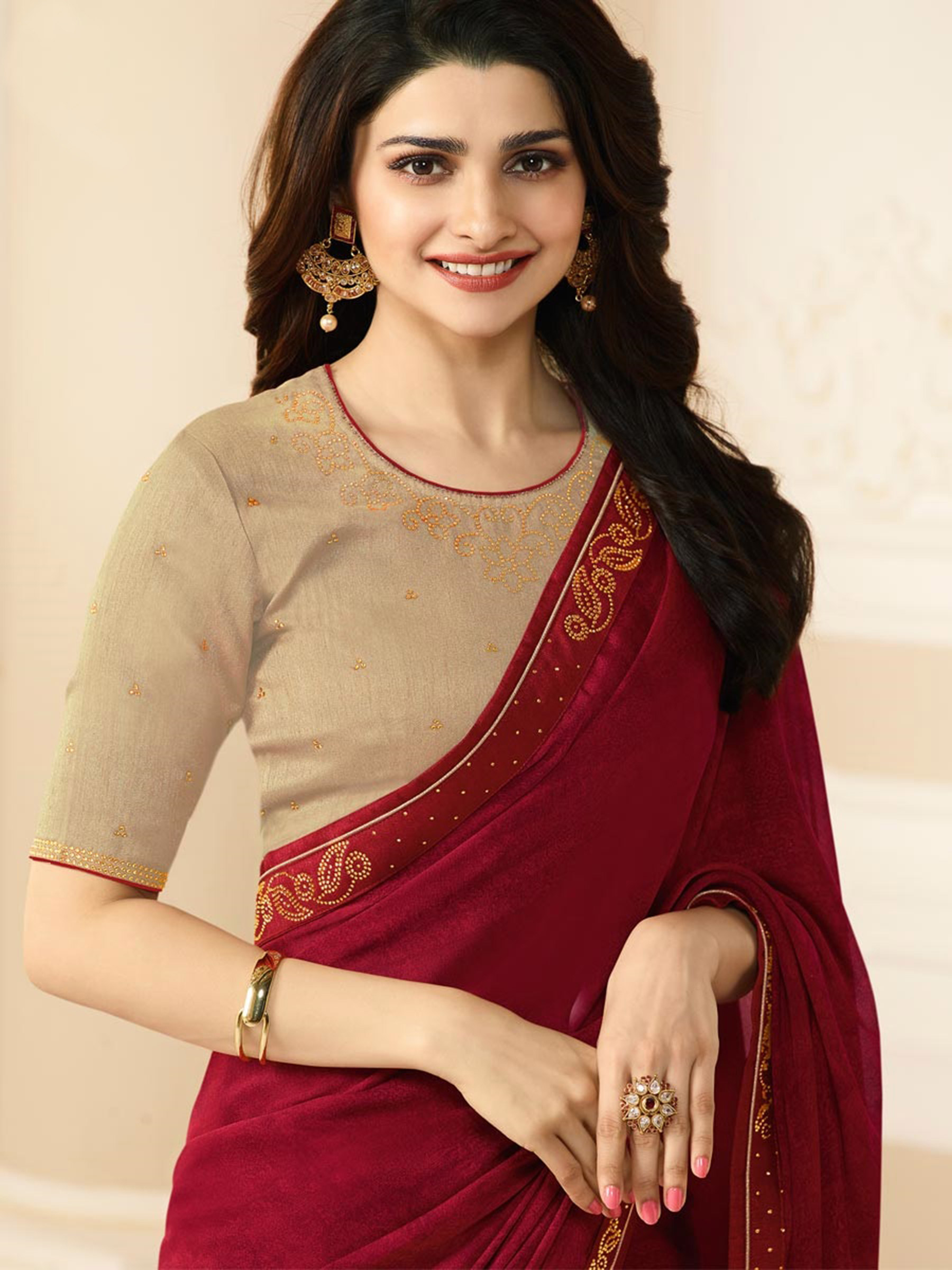 Marvellous Maroon Colored Designer Rangoli Silk Saree