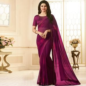 Stunning Dark Pink Colored Designer Georgette Saree