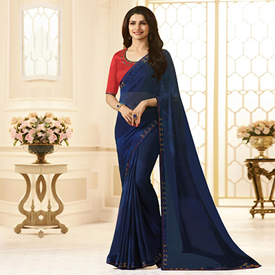 Alluring Navy Blue Colored Designer Georgette Saree