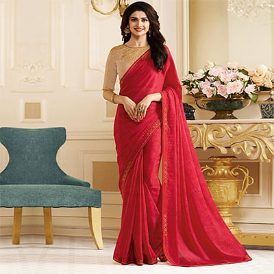 Ravishing Red Colored Designer Rangoli Silk Saree