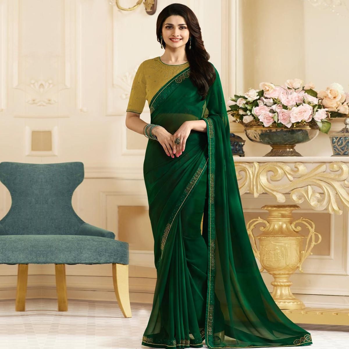 Gorgeous Green Colored Designer Georgette Saree
