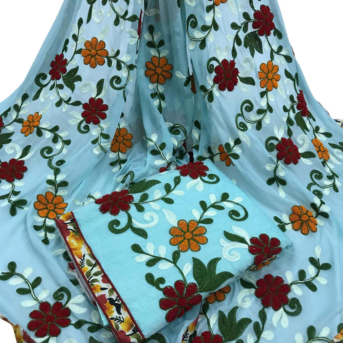 Refreshing Sky Blue Colored Partywear Embroidered Cotton Dress Material