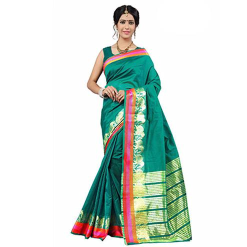 Dark Green Festive Wear Cotton Silk Woven Saree