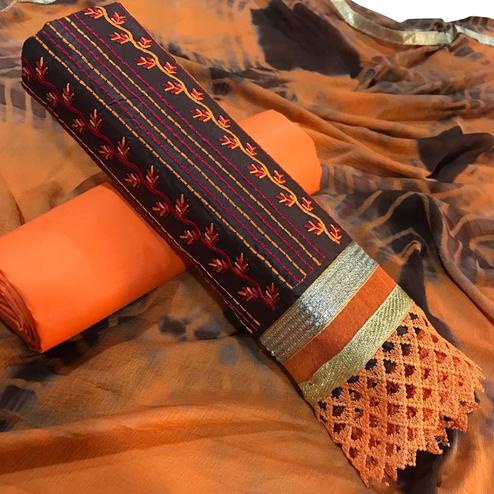 Eye-Catching Brown-Orange Colored Partywear Embroidered Cotton Dress Material