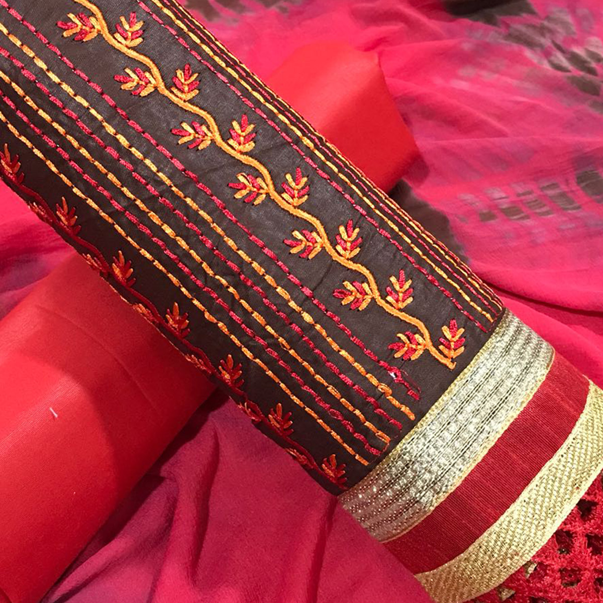 Stunning Brown-Red Colored Partywear Embroidered Cotton Dress Material