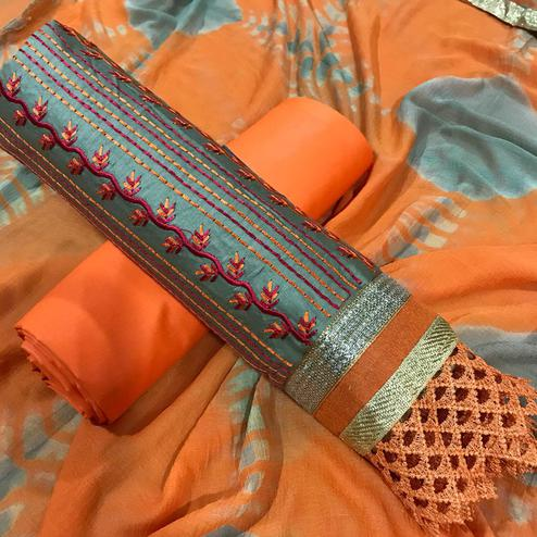 Arresting Gray-Orange Colored Partywear Embroidered Cotton Dress Material
