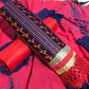 Gorgeous Blue-Red Colored Partywear Embroidered Cotton Dress Material