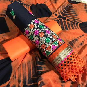 Blooming Black-Orange Colored Partywear Embroidered Cotton Dress Material