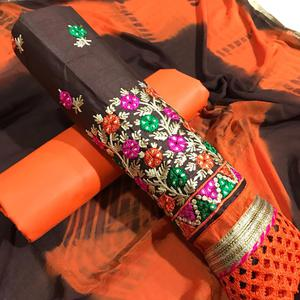 Different Brown-Orange Colored Partywear Embroidered Cotton Dress Material