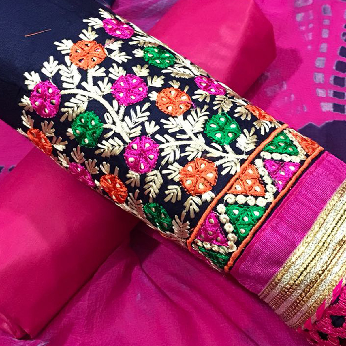 Desiring Blue-Pink Colored Partywear Embroidered Cotton Dress Material