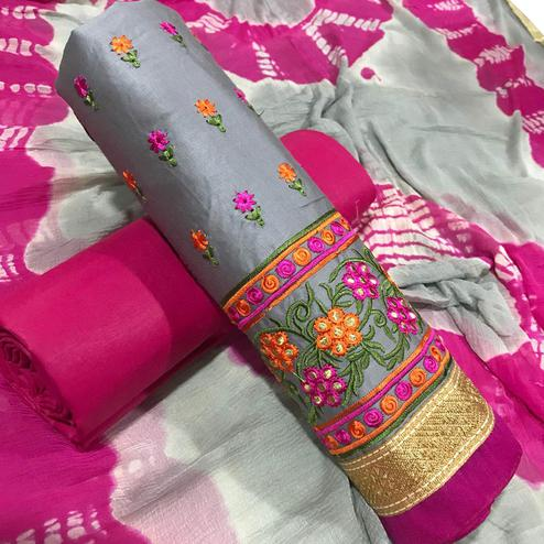 Demanding Gray Colored Partywear Embroidered Cotton Dress Material