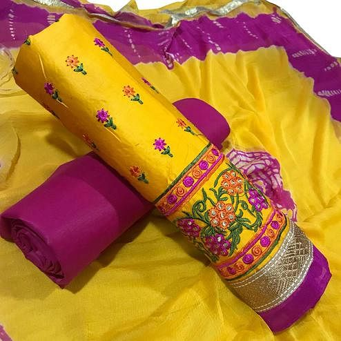 Glowing Yellow Colored Partywear Embroidered Cotton Dress Material