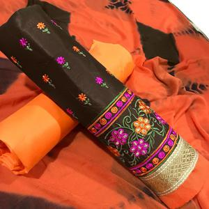 Flaunt Brown Colored Partywear Embroidered Cotton Dress Material