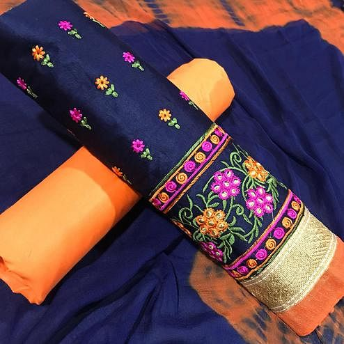 Beautiful Blue Colored Partywear Embroidered Cotton Dress Material