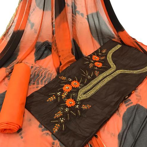 Groovy Brown Colored Partywear Embroidered Cotton Dress Material