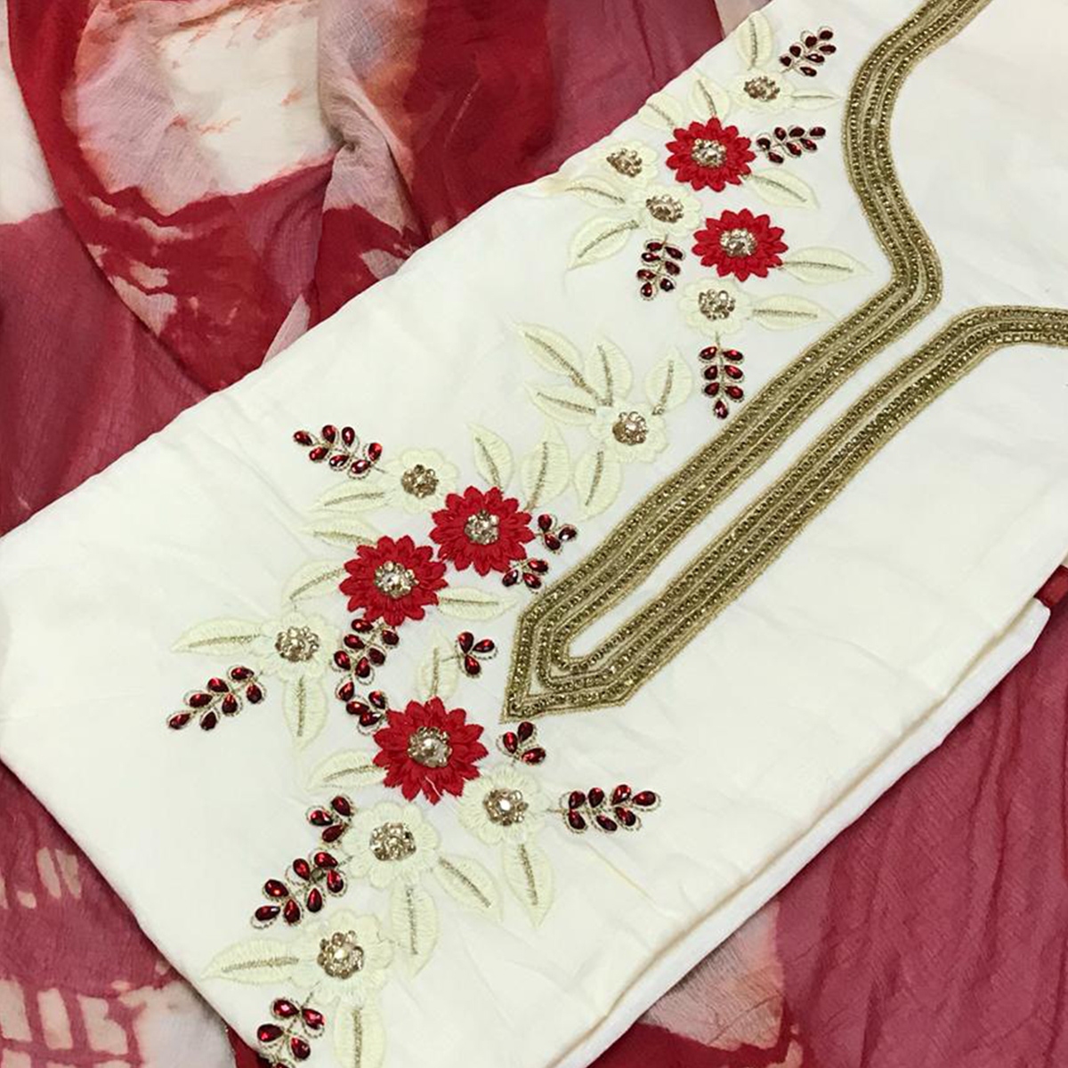 Classy White Colored Partywear Embroidered Cotton Dress Material