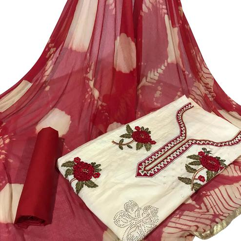 Pleasant Cream Colored Partywear Embroidered Cotton Dress Material