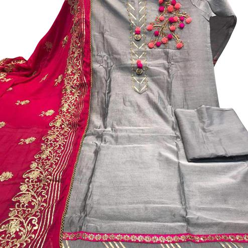 Majestic Gray Colored Partywear Embroidered Chanderi Dress Material