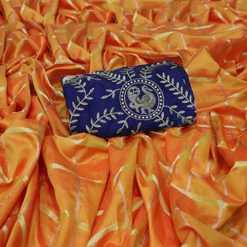 Elegant Orange Colored Partywear Sana Silk Saree