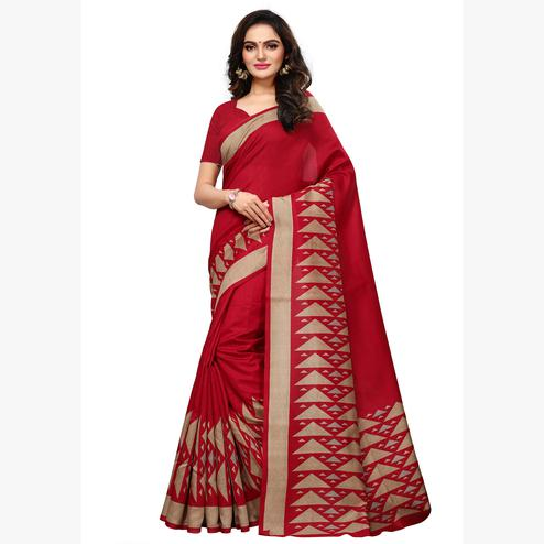 Amazing Red Colored Casual Wear Printed Art Silk Saree