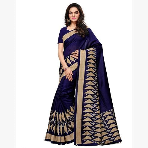 Exotic Navy Blue Colored Casual Wear Printed Art Silk Saree