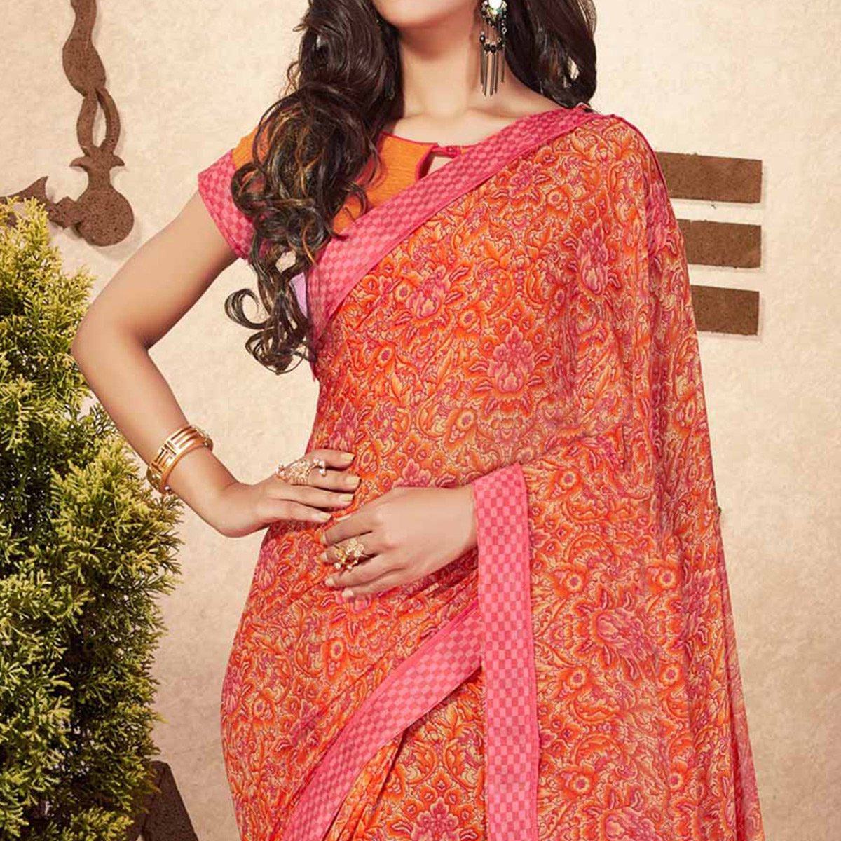Stylish Orange-Pink Georgette Printed Partywear Saree