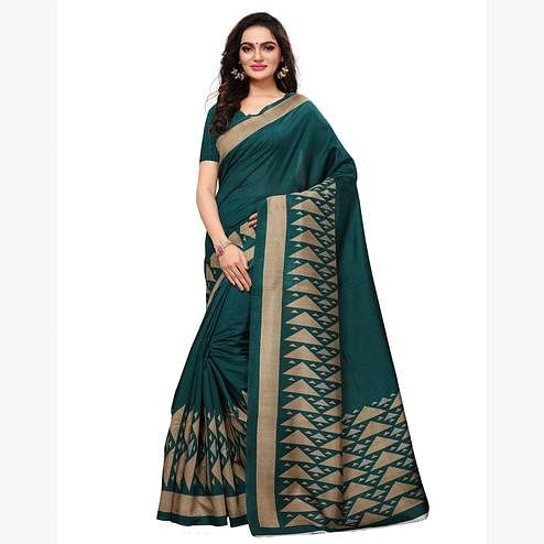 Majesty Teal Green Colored Casual Wear Printed Art Silk Saree