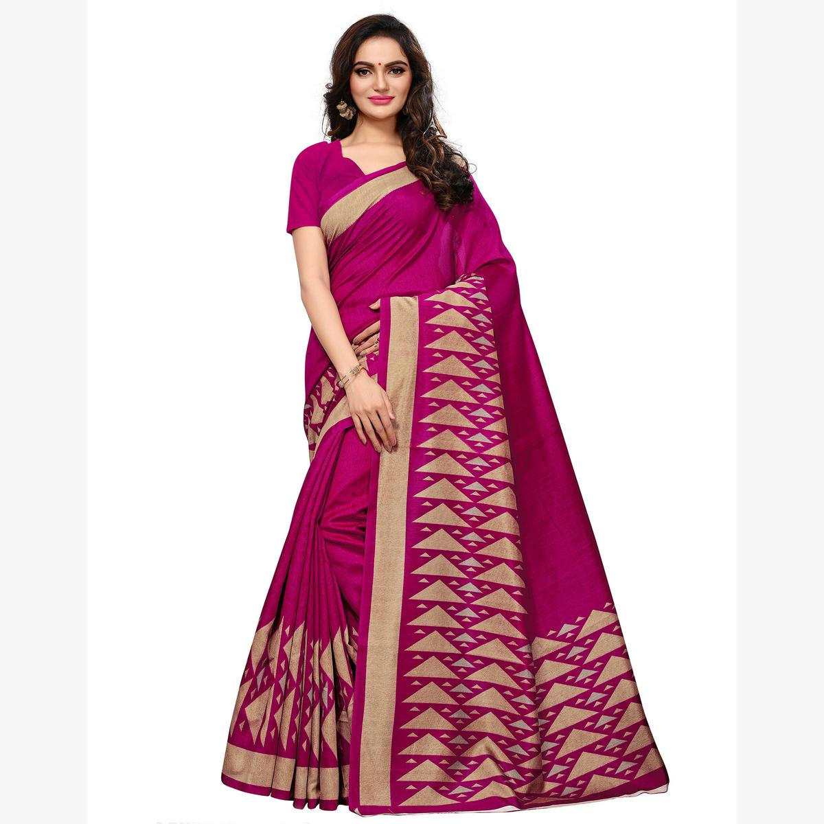 Preferable Pink Colored Casual Wear Printed Art Silk Saree