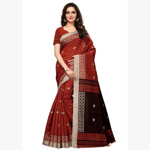 Attractive Maroon Colored Casual Wear Printed Art Silk Saree