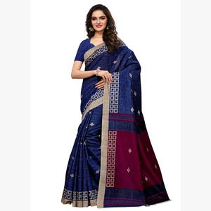 Beautiful Blue Colored Casual Wear Printed Art Silk Saree