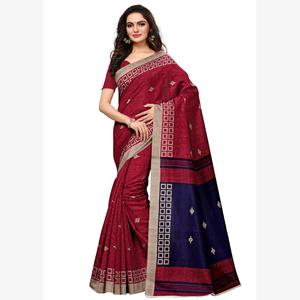 Gorgeous Pink Colored Casual Wear Printed Art Silk Saree