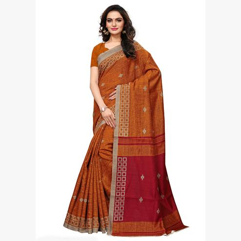 Classy Mustard Yellow Colored Casual Wear Printed Art Silk Saree