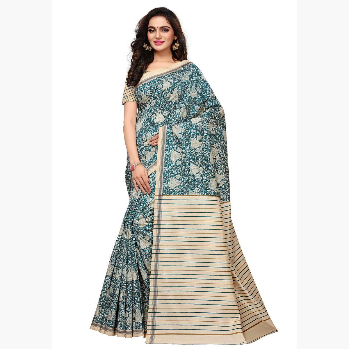 Glorious Sky Blue - Cream Colored Casual Wear Printed Art Silk Saree
