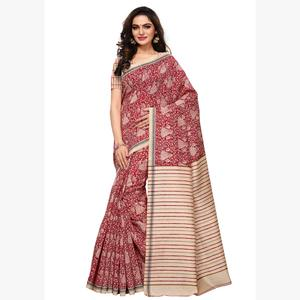 Graceful Maroon - Cream Colored Casual Wear Printed Art Silk Saree